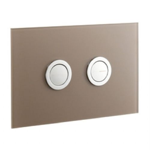 Abacus Lustrolite Press Panel Glass Effect Dual Flush Plate - Mocha
